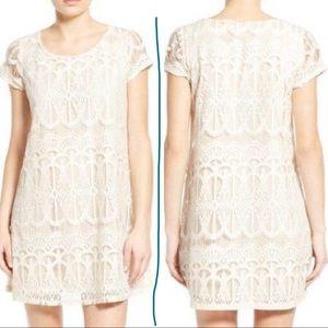 Dress crochet lace cap short sleeves shift can
